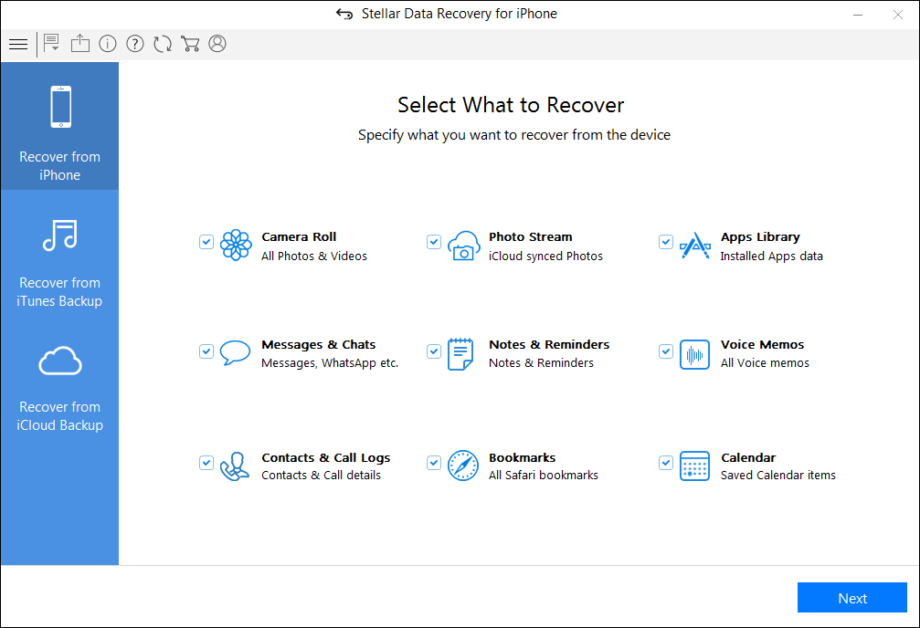 Recover missing or accidentally deleted Contacts, Messages, Calendar, Photos, Videos, Call History etc directly from iPhone or iPad.